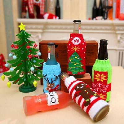 Vintage Wine Bottle Cover Bag Knitted Ugly Sweater Party Christmas Decor NEW JJ
