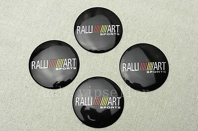4Pcs For Black  Ralli Art Aluminum Alloy Car Wheel Center Caps Sticker Emblems