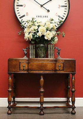 Antique English Burr Walnut Single Drawer / Hall / Side / Lamp / Display Table