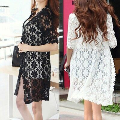 0497d84572 Summer Womens Open Cardigan Floral Lace Cover Up Long Sleeve Top Jacket Coat