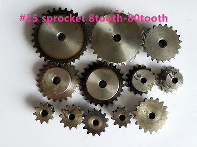 "# 25 Roller Chain Sprocket 1/4"" pitch 8 - 29 Tooth"