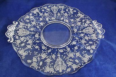 Beautiful Large Cambridge Rose Point Tray Platter Depression Glass