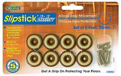 "Slipstick CB255o 1"" (25mm) Sliders for Wood Floors (Set of 8)"