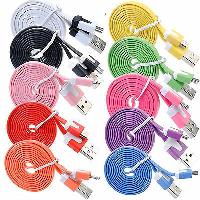 Hot 1-3M Flat Noodle Micro USB Charger Sync Data Cable for Android Phones