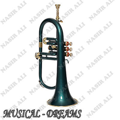 FLUGEL HORN Bb PITCH FOR SALE 3 VALVE WITH FREE HARDCASE AND MP, GREEN LACQUERED