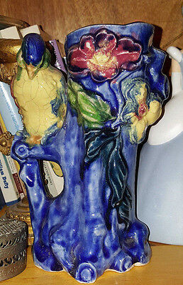 estate auction Majolica style vase /vessel  no flaws  parrot / bird