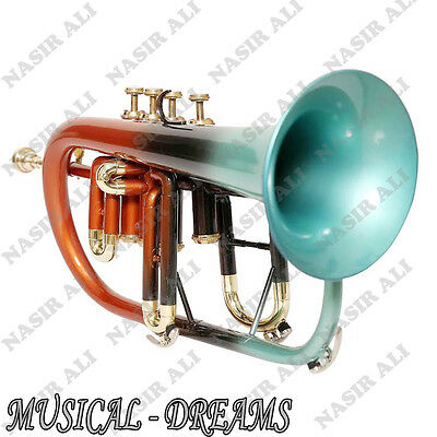 FLUGEL HORN Bb PITCH FOR SALE 4 VALVE WITH FREE CASE AND MP, ORANGE +GREEN COLOR