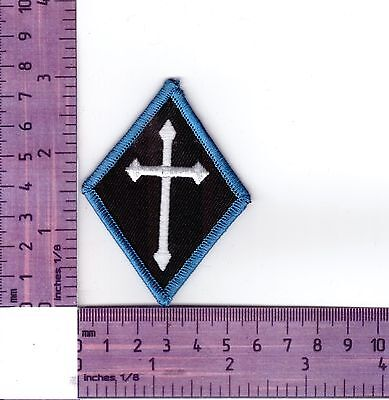 Blue Border Cross Diamond Bikers Embroidered Cloth Patch / Badge