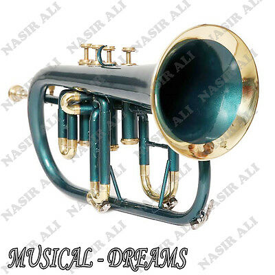 FLUGEL HORN Bb PITCH 4 VALVE GREEN COLORED, CHECKED AND TESTED WITH CASE AND MP