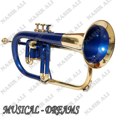 FLUGEL HORN Bb PITCH 3 VALVE BLUE + BRASS, CHECKED AND TESTED WITH CASE AND MP