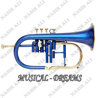 FLUGEL HORN Bb PITCH 4 VALVE BLUE COLORED, CHECKED AND TESTED WITH CASE AND MP