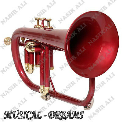 FLUGEL HORN Bb PITCH 3 VALVE RED COLORED, CHECKED AND TESTED WITH CASE AND MP
