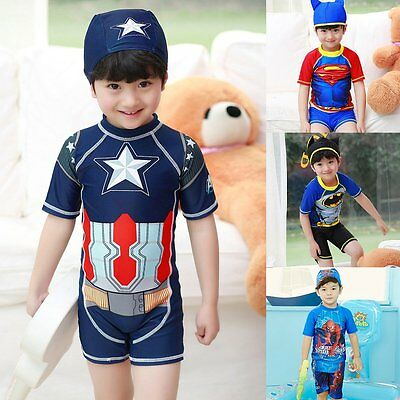 Kids Boys Superhero 2PCS/3PCS Swimwear Bathing Beach Holiday Swimsuit With Hat