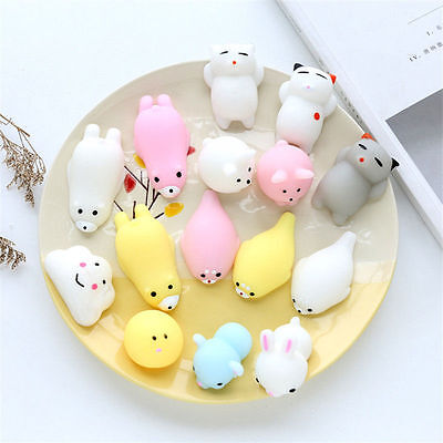10Pcs Soft Animals Squishy Squeeze Healing Fun Kid Toy Gift Relieve Anxiety Cute