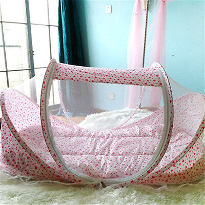 Portable Cute Baby Kid Crib Comfortable Babies Pad with Sealed Mosquito Net