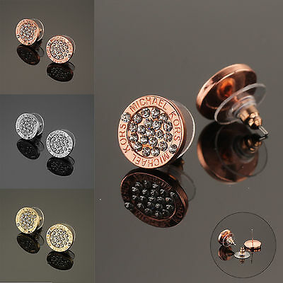Fashion Elegant Gold Silver Rose Circle Crystal Stud Charm Earrings Jewelry