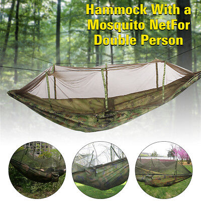 Outdoor Camouflage Camping Hammock With Mosquito Insect Net For Double Person AU