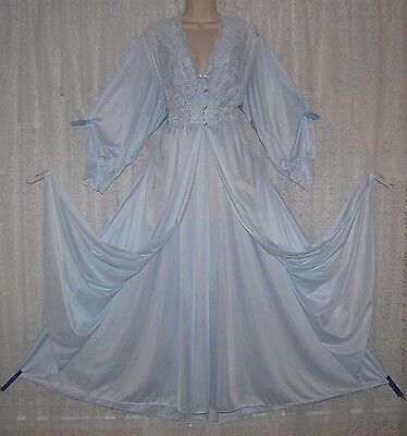 Blue Shadowline Silky Soft Peignoir Robe Nightgown Gown Negligee Petite S Tags