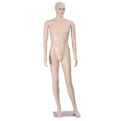 Male Mannequin Plastic Realistic Display Head Turns Dress Form w/ Base Man Torso