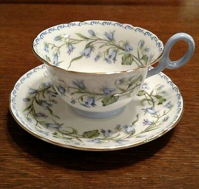 Shelley England Fine Bone China Cup & Saucer Harebell Blue 13544 Chester shape