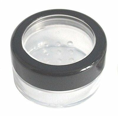 10mL THICK WALL Empty SMALL PLASTIC SIFTER JAR with Black Rimmed Lid for