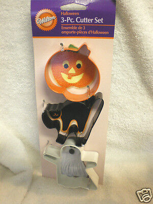 (3) New Wilton Metal Halloween  Cookie Cutters Ghost Pumpkin  Cat