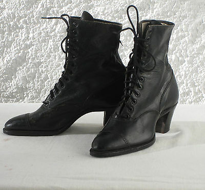 PAIR VICTORIAN/EDWARDIAN LADY'S LEATHER BOOTS, Size 3, period costume, theatre