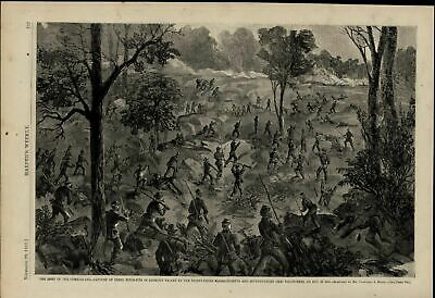 Cumberland Army Capture of Rebel Rifle Pits 1863 great old print for display