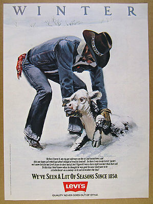 1981 Levi's Jeans Jean Jacket 'Winter' calf in snow art vintage print Ad