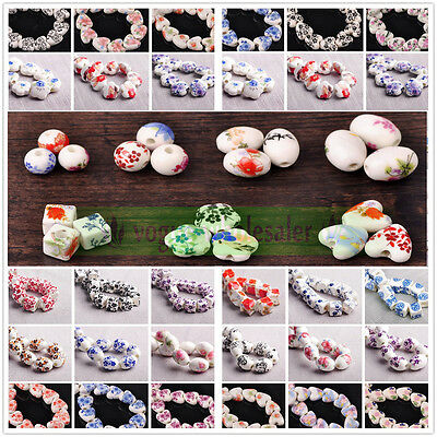 10pcs Flower Pattern Ceramic Porcelain Charms Loose Spacer Beads Jewelry Finding