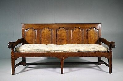 18th Century Antique Oak Settle with Squab Seat.