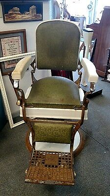 Vintage Art Deco 1920's Koken Barber's Chair For Parts or Restoration