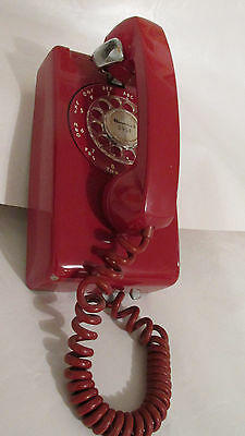 Vintage Red Western Electric Rotary Soft Plastic Wall Phone 1957 Orginal Dial