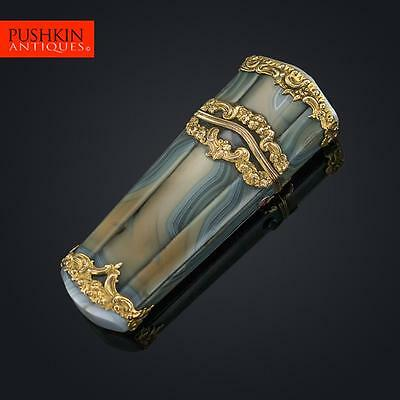 ANTIQUE 18thC GEORGIAN 18k GOLD MOUNTED AGATE ETUI, LONDON c.1760