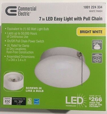 Commercial Electric 7 in Bright White LED Flushmount Pull Chain Lot of 1,2,8,24