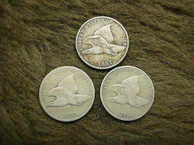 1857 - 1858 Sl - 1858 Ll Flying Eagle Cents - 1 Ea. - All No Problem Coins -Nice