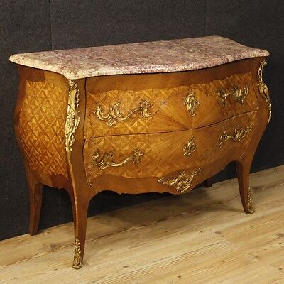 Dresser antique style Louis XV chest of drawers inlaid furniture marble top