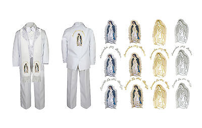 Toddler Boy Christening Baptism White Suit Guadalupe Maria Mary Stole Back Sm-7