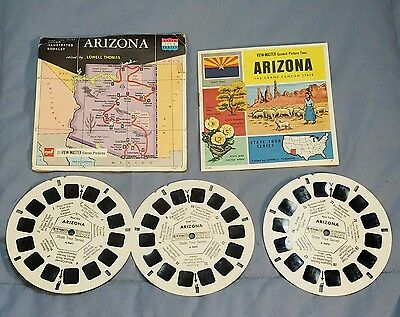 Vintage Viewmaster Lowell Thomas ARIZONA State Tour Series 3 Reel + Packet A 360