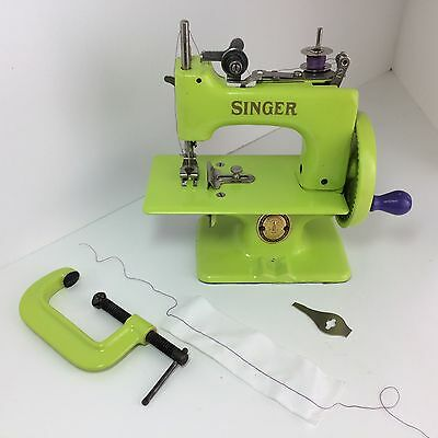 Singer Sewhandy 20, vintage hand crank toy sewing machine, custom painted lime