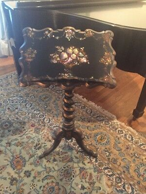 Antique Paper Mache Music Stand With Mother Of Pearl Inlay