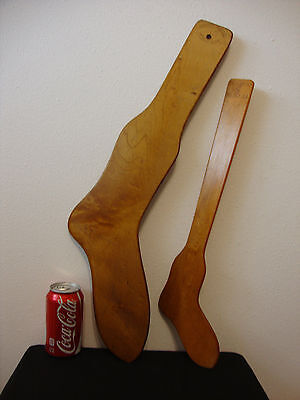 (2) Vintage Wood Wooden SOCK STRETCHER Dryer Forms- Size 11, 5 1/2 Stockings