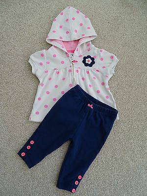 Baby Girl's Outfit (Short Sleeved Hooded Jacket and Leggings) Age 0-3 Months