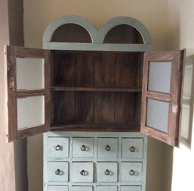 Beautiful Antique 19th Century Painted Apothecary Cabinet With Drawers And Shelf