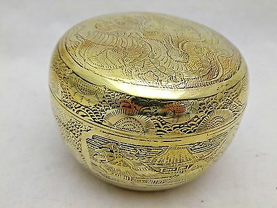 Round Brass Vintage Japanese Small Bowl with Cover