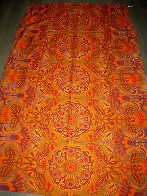 Vintage 60s 70s Marrakech print Jonelle orange cotton fabric / curtain length