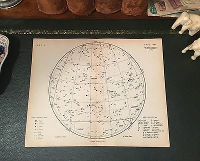 Rare Original 1880 Antique Celestial Astronomy STAR MAP Leo Cancer Virgo Gemini