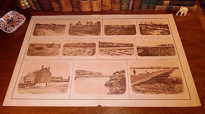Large Antique Civil War CONFEDERATE DEFENSES Panoramic View Map Lithograph Print