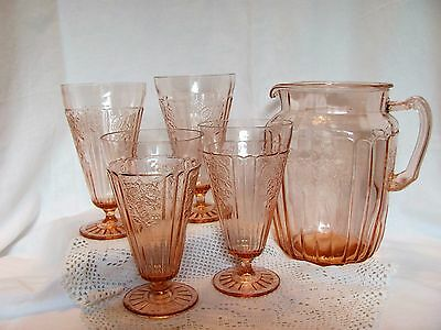 "Pink Mayfair Open Rose 8½"" Tall 80 oz. Pitcher and 4 Tumblers by Hocking Glass"