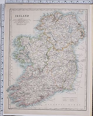 1889 Large Antique Map ~ Ireland Mayo Galway Clare Tyrone Donegal Meath Wicklow